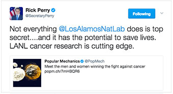Rick Perry's tweet about cancer research at LANL